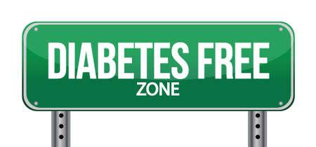 Diabetes Free Zone Green Road Sign illustration design