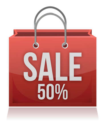 selling off: 50% OFF SHOPPING BAG illustration design over white