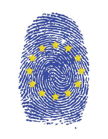 foreign nation: Fingerprint stamp on white paper for European Flag illustration