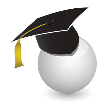white ball with graduation cap illustration design over white Stock Vector - 17081925