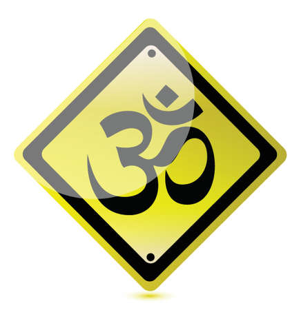 mantra: om yellow road sign illustration design over a white background