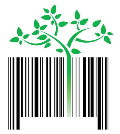 bar code with green sprouts growing illustration design over white Vector