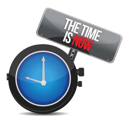 chronologie: Le temps est maintenant design illustration sur un fond blanc