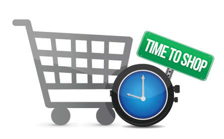 Time to Shop and shopping cart illustration design over white Vector
