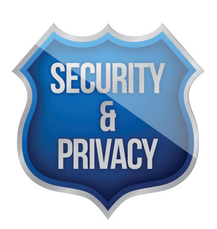 cyber defence: Security and Privacy Shield illustration design over white Illustration