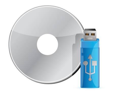 USB stick on CD stack against white background Stock Vector - 17099248