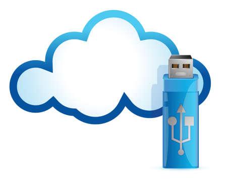 cloud computing USB flash drive illustration design Illustration
