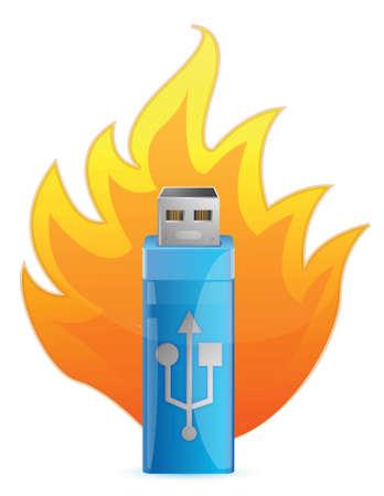 Blue USB Flash Drive in Fire illustration design