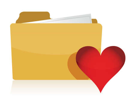 Yellow folder with red Heart illustration design over white Vector