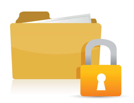 Yellow folder and lock illustration design over white Vettoriali