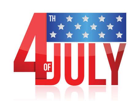 4th of july sign illustration design over white