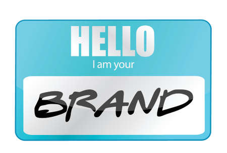 brand name: Hello I am your Brand illustration design over white