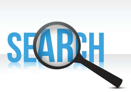 search with magnifying glass illustration design over white