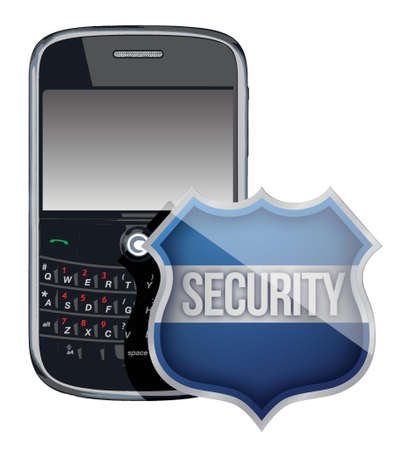mobile phone security shield illustration design over white Illustration