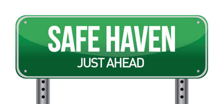 Safe Haven Green Road Sign illustration design over white Stock Vector - 17099210