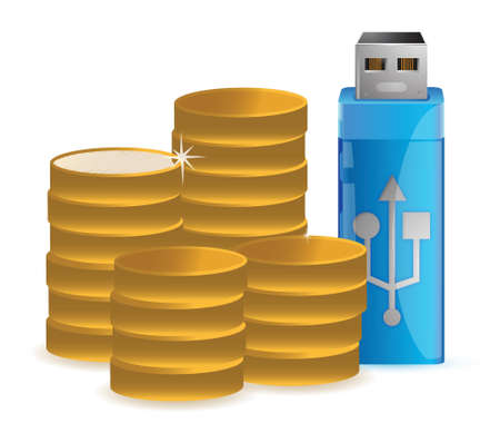 Coins and USB data flash driver illustration Stock Vector - 17099286