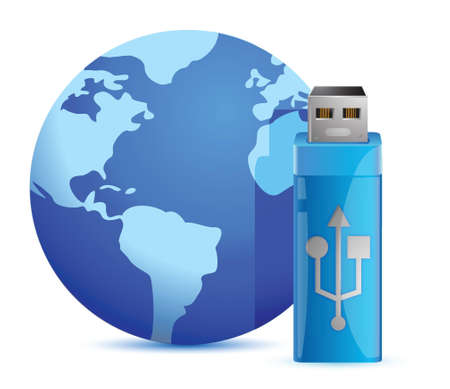 mobile device: Usb flash memory and the globe illustration design