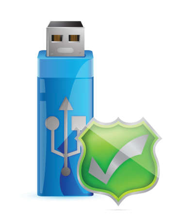 Data Protection Icon - USB Flash Drive with Shield Stock Vector - 17099314