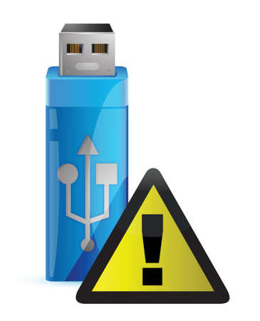 portable rom: Vector USB Flash drive with WARNING sign illustration design