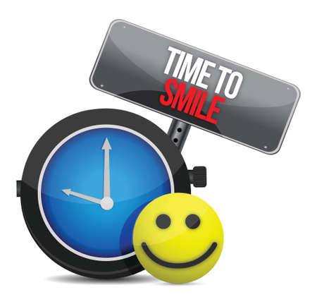 Time to Smile and a happy face illustration Stock Vector - 17099309