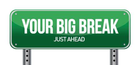 big break: Big Break Green Road Sign illustration design over white Illustration