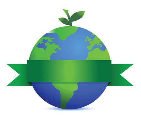 go green icons: green fruit like earth with leaves illustration design over white Illustration