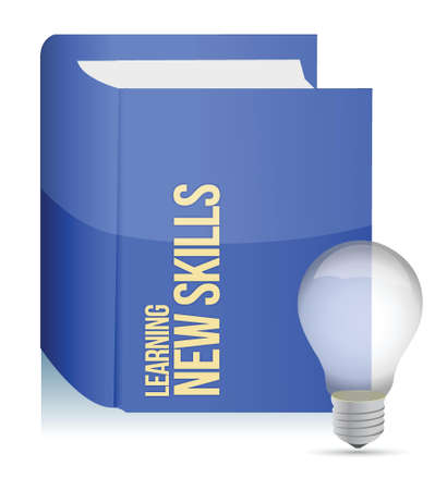 self improvement: book with a new skills concept title illustration design Illustration