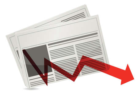 down arrow: Negative Market newspaper results illustration design over white