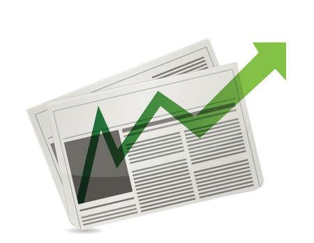 Positive Market newspaper results illustration design over white Stock Vector - 17124377