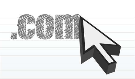 global links: .com text over a notepad and cursor illustration design