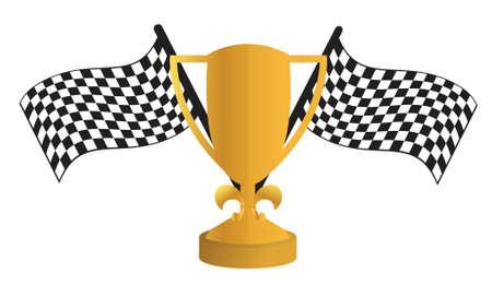 finish line: Golden Trophy and flags illustration design over white