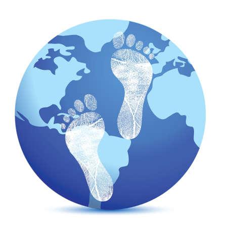 白で足跡イラスト デザインと地球  イラスト・ベクター素材