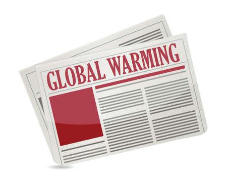 headline: A newspapers with headline Global Warming illustration design