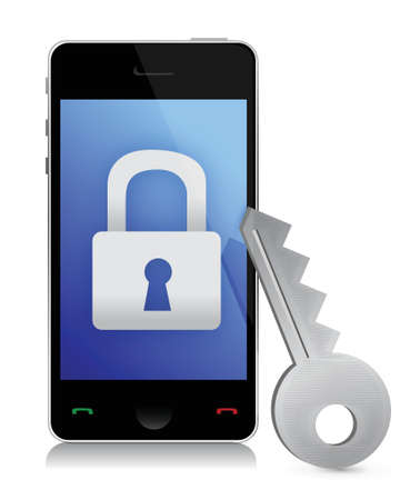 blocked: phone security concept illustration design over white
