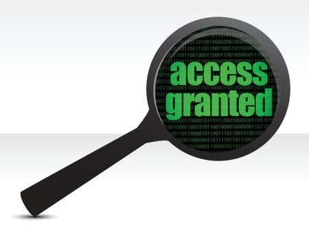 access granted: Magnifying optical glass with words access granted illustration