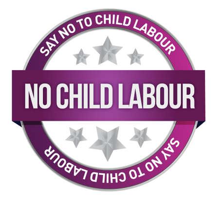 derechos humanos: Di no a las de diseño Trabajo Infantil ilustración sello Vectores