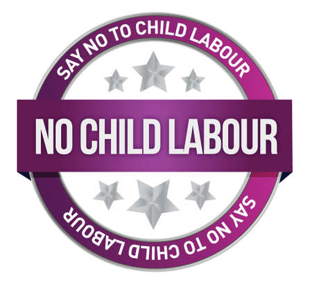 dangerous work: Say No To Child Labour seal illustration design