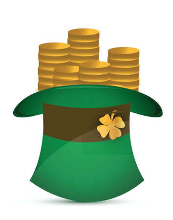Leprechaun hat filled with gold coins illustration design