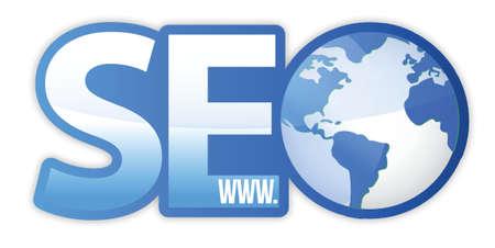 SEO Icon with Blue World Globe WWW illustration design Stock Vector - 17124404