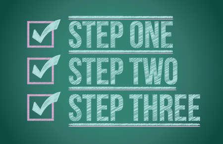 Steps checkmark blackboard background illustration design graphic Stock Vector - 17124379