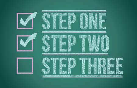 plan van aanpak: Stappen vinkje schoolbord achtergrond illustratie ontwerp graphic