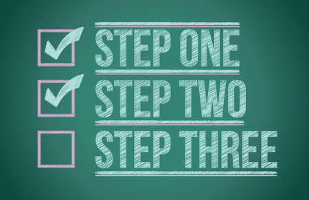 steps to success: Steps checkmark blackboard background illustration design graphic