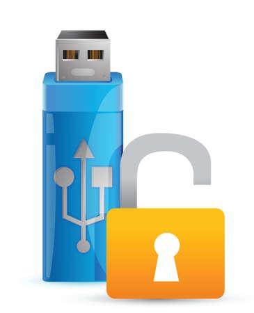 Usb unlock and flash drive as key illustration design Illusztráció