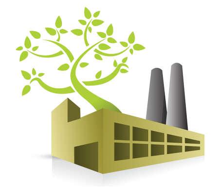 eco energy: eco energy factory illustration design over white Illustration