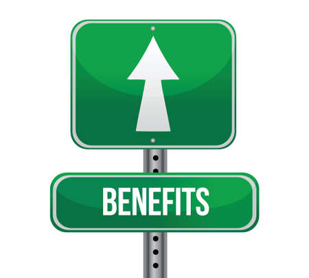 benefits road sign illustration design over a white background Stock Vector - 17153542
