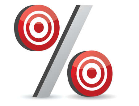 price hit: percent red symbol with conceptual targets illustration Illustration