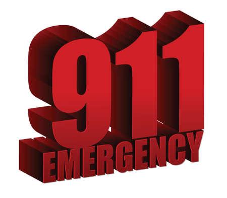 911 Emergency text illustration design over white