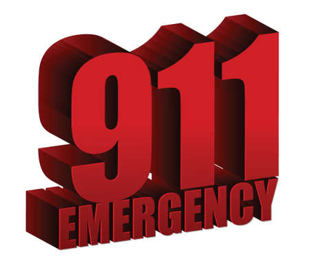 911 Emergency text illustration design over white
