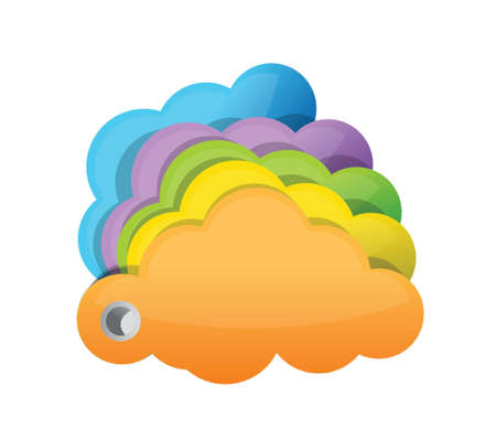 multicolor clouds illustration design over a white background Vector