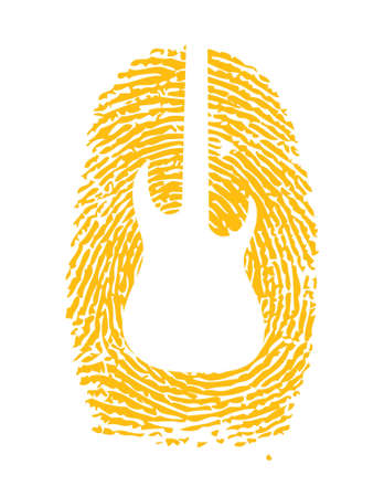 fretboard: thumbprint with a guitar icon on it illustration design over white